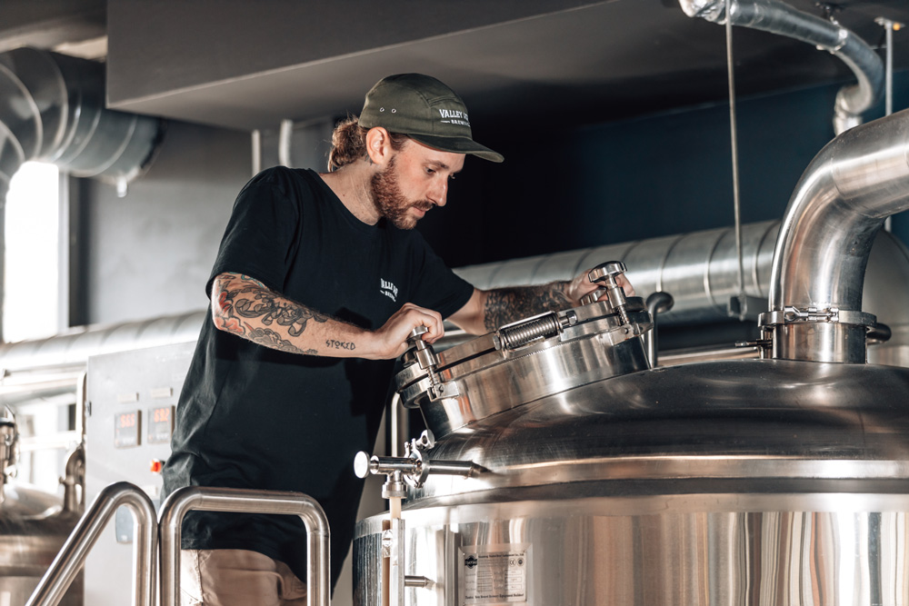 Head Brewer Josh Warren. Doing his thing in the place he knows best.